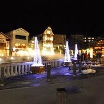 冬の風物詩◇湯畑のイルミネーション・ライトアップ◇湯畑(夜)までは当館より約3分!