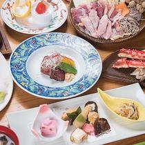 *【夕食(一例イメージ)】メインの「きじ鍋」や、繊細にそして美しく盛られたお料理の数々♪