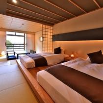 2017年3月末リニューアルOPENの【宿屋敷 ベッドのある和室10畳】(山並・街並側)