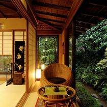【山家荘】日本庭園に面したお部屋でおくつろぎを
