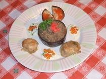 なすびの牛肉添え(夕食各種)