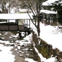 *冬景色/冬は真っ白な雪に包まれます。この季節はお部屋にこたつをご用意しております♪
