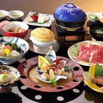 【冬の和会席料理】季節の素材をつかった料理が並びます(一例)