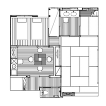 【泉游亭・みねざくら平面図】湯畑眺望+和室+和ベッドルーム。62平米<禁煙>