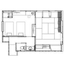 【泉游亭・わたすげ平面図】和室+洋ベッドルーム。51平米<禁煙>
