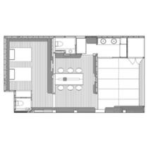 【泉游亭・しゃくなげ平面図】リビング+和室+洋ベッドルーム。75平米<禁煙>