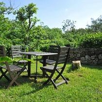 *【お庭】豊かな庭には野鳥も多く訪れます。時には天然記念物のカンムリワシやアオバトを見かけることも。