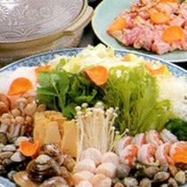 大山地どりと日本貝スープ鍋(一例)