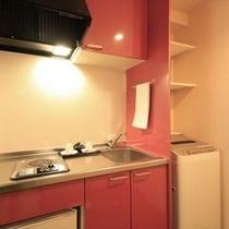 ■全室ミニキッチン&乾燥機付き洗濯機完備なので長期滞在が快適!