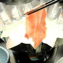 夕食-奥利根もち豚の豆乳しゃぶしゃぶ