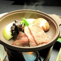 夕食-上州牛の陶板焼き【お料理 グレードアップ】