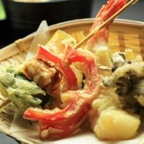 夕食-尾瀬まいたけと季節の野菜天ぷら
