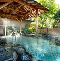 半蔵の湯。風の音、木々のざわめき、こもれび、鳥の声。山の旅館ならではの贅沢を。