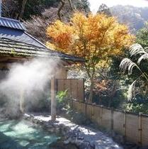 半蔵の湯。秋の紅葉。湯けむり。。。