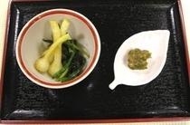 野蒜の塩コンブ和え・蕗味噌