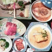 *夕食/オススメは千曲川源流で育った川魚や高原レタスに特選豚ロースを使った温泉しゃぶしゃぶ。