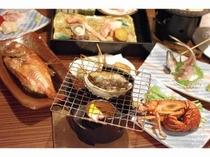 ■夕食:アワビの踊り焼きも見ごたえあり!