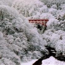 ◆松川渓谷 赤が映える冬の高井橋