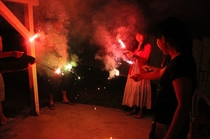 夏の風物詩。バーベキューの後に花火なんてめちゃくちゃ沖縄満喫モードですね^^