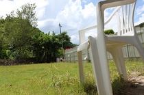 サボテンスマイルの裏には一面芝生です。