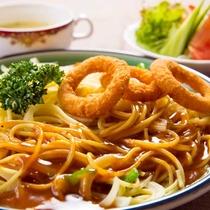 ■あんかけスパ+イカリングフライ添え■ここ愛知でしか食べれないあんかけスパゲティ。
