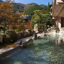 飛騨川を望む秋野天風呂