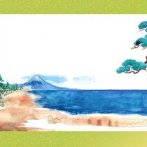 【10】はくりょうが見とれているうちに天女はいつのまにか富士の彼方へ消えてしまいました