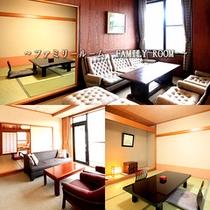 ファミリールーム…和室8〜10+8畳の機能的な客室です。リビング、バルコニー、バス・トイレ付。
