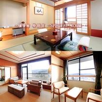 特別室…麗景館7Fに当館唯一の和洋室の特別室があります。リビングに和室と洋室の寝室があります。