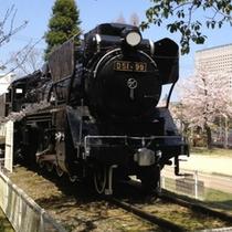 津 偕楽公園の左側にある蒸気機関車(SL)D51型499号