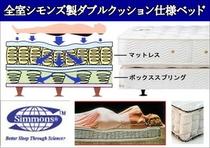 全室シモンズ製ベッド(ダブルクッション仕様)