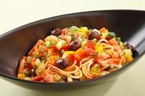 パンチェッタと5種類の野菜のアラビアータ