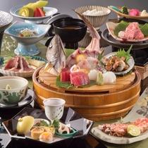 1ランクアップ:相模湾からの恵み新鮮魚介と、柔らかな和牛を共にお召し上がりいただける懐石料理です。