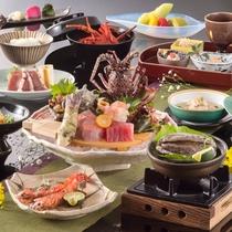 2ランクアップ:伊豆の2大味覚!『伊勢海老&鮑』を季節の調理法で味わう特選懐石