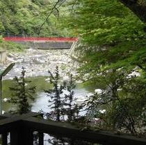 春:窓辺から見える赤い橋