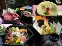 天ぷらと八寸、山ふぐ、牛鍋