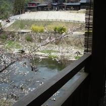 春:窓辺から見える渓流