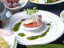 フルーツトマトと本日の焼き魚和風ジンバブエソースで【陽の岬会席】