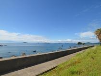 当館前の堤防ではエギングでイカ釣りも楽しめます!