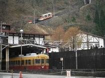 立山ケーブルカーと地鉄電車のコラボ