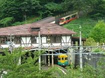 立山館客室から立山ケーブルカーや地鉄電車のコラボがみえます。