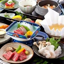 ハモしゃぶと熊本県産味彩牛ステーキ会席
