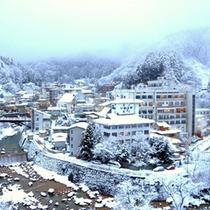 【外観(冬)】冬は土湯温泉一帯が、雪景色に包まれます。