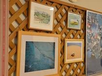 食堂には西表の写真を飾っています