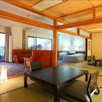 【最上階貴賓室】海一望!露天風呂+和室2間+ツインベッド