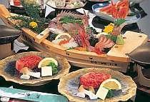 但馬牛ステーキ&日本海舟盛りの例(2人前)