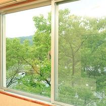 窓からは緑溢れる景色