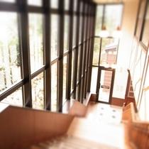 フロントへ下りる階段