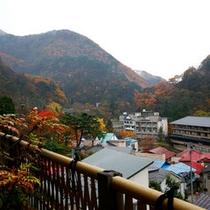 姉妹館(千代滝)から見た紅葉時期の外観と東山温泉