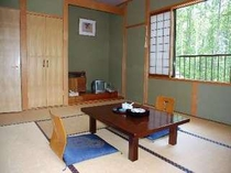 落ち着いた雰囲気の10畳の和室。シャワートイレと洗面台付き